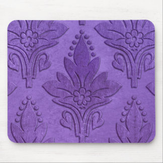 AMOROSO DAMASK: AGED PARCHMENT in PURPLE Mouse Pad