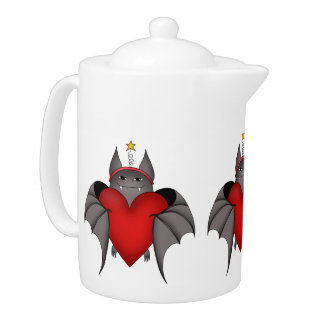 Amorous Christmas bat with red heart Teapot