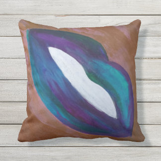 Amorous Decor | Lips Kiss XOXO Lipstick Glam | Outdoor Pillow