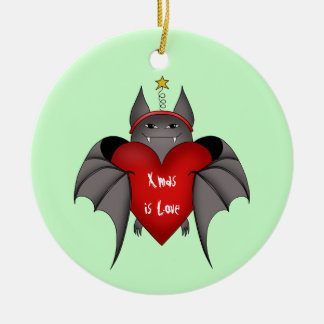 Amorous gothic Christmas bat Double-Sided Ceramic Round Christmas Ornament