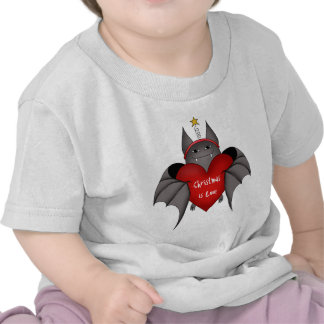 Amorous gothic Christmas bat Tee Shirts