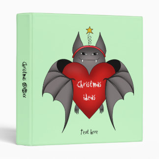 Amorous gothic Christmas bat with red heart Binder