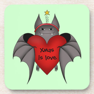 Amorous gothic Christmas bat with red heart Drink Coaster