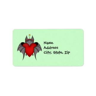 Amorous gothic Christmas bat with red heart Custom Address Label