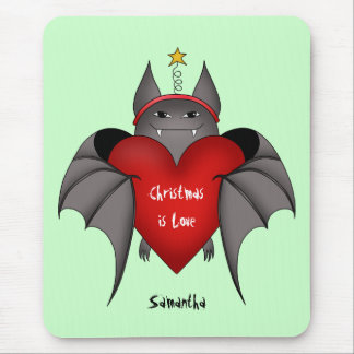 Amorous gothic Christmas bat with red heart Mouse Pad