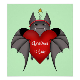 Amorous gothic Christmas bat with red heart Posters