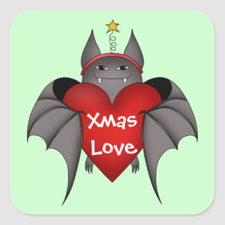 Amorous gothic Christmas bat with red heart Square Sticker