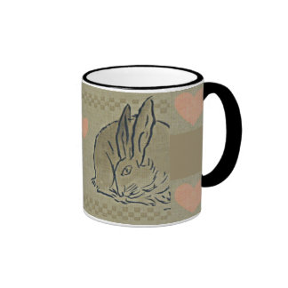 Amorous Hares Mug, checkered Ringer Mug