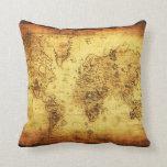 Amortiguador de la decoración del mapa del mundo d cojines
