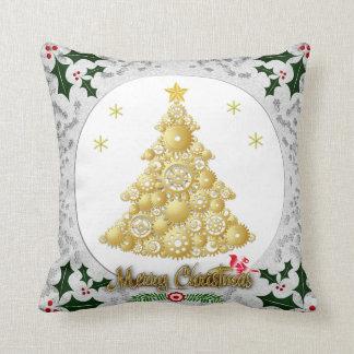 amortiguador de la frontera del árbol de navidad y cojín decorativo