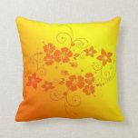 Amortiguador floral de oro del arte almohada