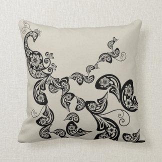 Amortiguador floral del arte negro del modelo del  almohada