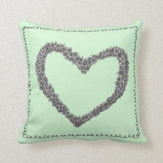 Amortiguador verde del corazón de Seafoam Cojín