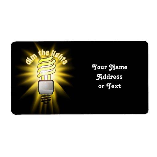 Amortigüe la luz ahorro de energía etiqueta de envío