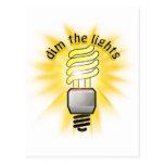 Amortigüe la luz ahorro de energía tarjetas postales