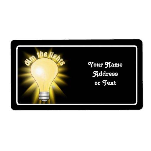 Amortigüe las luces - bombilla etiqueta de envío