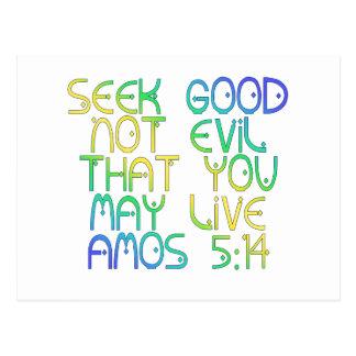 Amos 5:14 postcard