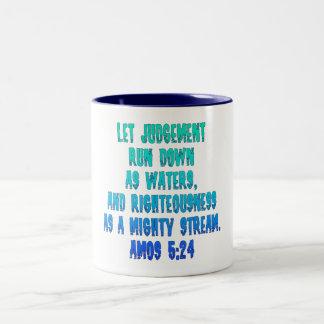 Amos 5:24 Two-Tone coffee mug