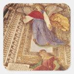 Amos y ángel que sostienen las tenazas de la pegatina cuadrada