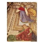 Amos y ángel que sostienen las tenazas de la postal