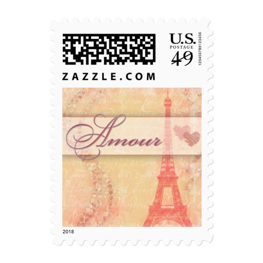 Amour and the Eiffel Tower, Paris France Postage Stamp