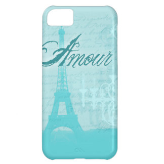 Amour Blue French Eiffel Tower iPhone 5C Case
