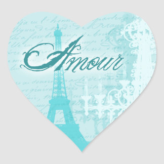 Amour Blue French Eiffel Tower Heart Sticker