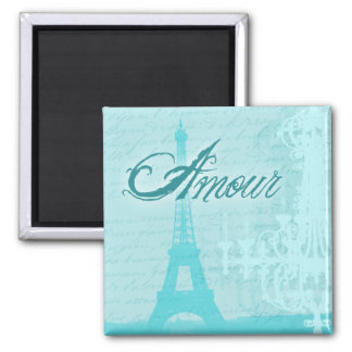 Amour Blue French Eiffel Tower Magnet