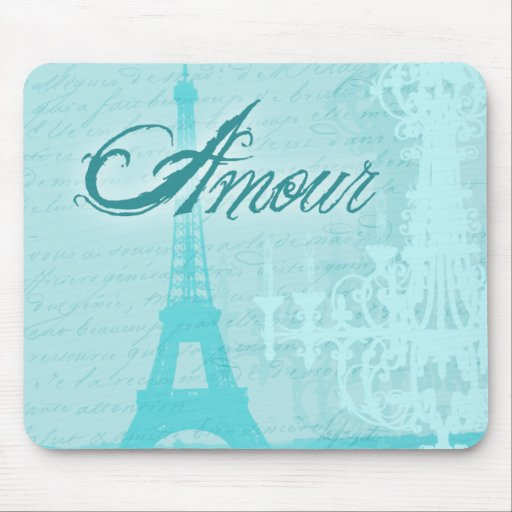Amour Blue French Eiffel Tower Mouse Pad