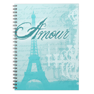 Amour Blue French Eiffel Tower Spiral Notebook
