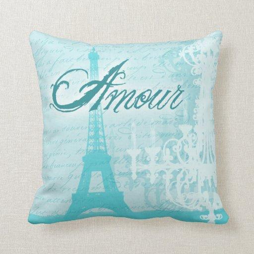 Paris Eiffel Tower Pillow 16 X 16: Amour Blue French Eiffel Tower Throw Pillow