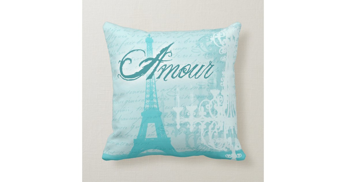 French Blue Throw Pillows : Amour Blue French Eiffel Tower Throw Pillow Zazzle