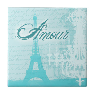 Amour Blue French Eiffel Tower Ceramic Tiles