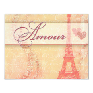 Amour in Paris 4.25x5.5 Paper Invitation Card
