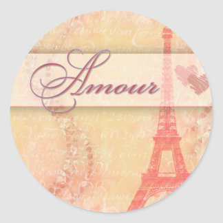 Amour in Paris Round Stickers