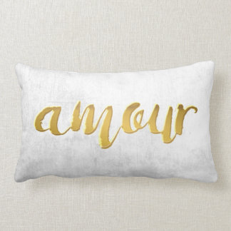 Amour -Print Letter Gold Foil Typography Brush Lumbar Pillow