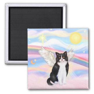 &amp negro; Gato blanco - nubes Imán Cuadrado
