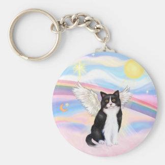 &amp negro; Gato blanco - nubes Llavero Redondo Tipo Pin