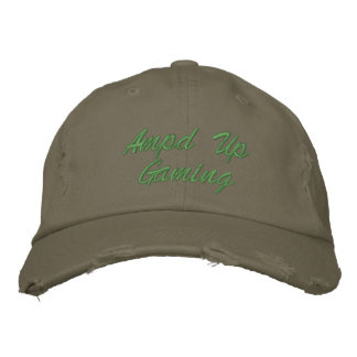 Ampd Up Gaming Olive Green Hat Embroidered Baseball Caps