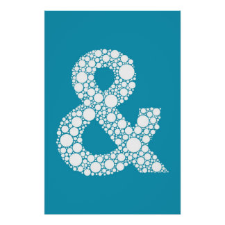 Ampersand (and symbol) Blue Bubble Type Poster
