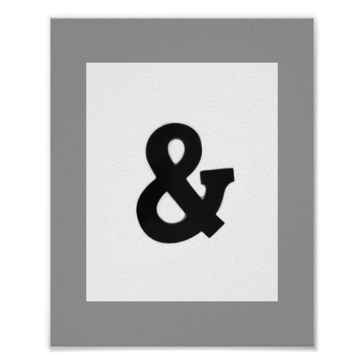 Black Ampersand Wall Decor : Ampersand bold wall art poster black and white zazzle