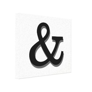 ampersand canvas wall art black and white