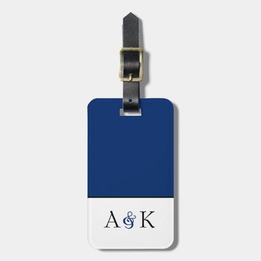 Ampersand Elegance: Dark Blue Luggage Tag