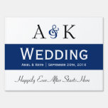 Ampersand Elegance: Dark Blue Wedding Sign