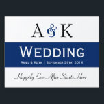 "Ampersand Elegance: Dark Blue Wedding Sign<br><div class=""desc"">Welcome your wedding guests with the Ampersand Elegance: Dark Blue wedding sign design by Enchantfancy Studios. This design mixes simple elegance with a pop of dark blue color, and matches our Ampersand Elegance: Dark Blue Wedding Invitation. It is a perfect sign or yard sign to use to help your guests...</div>"