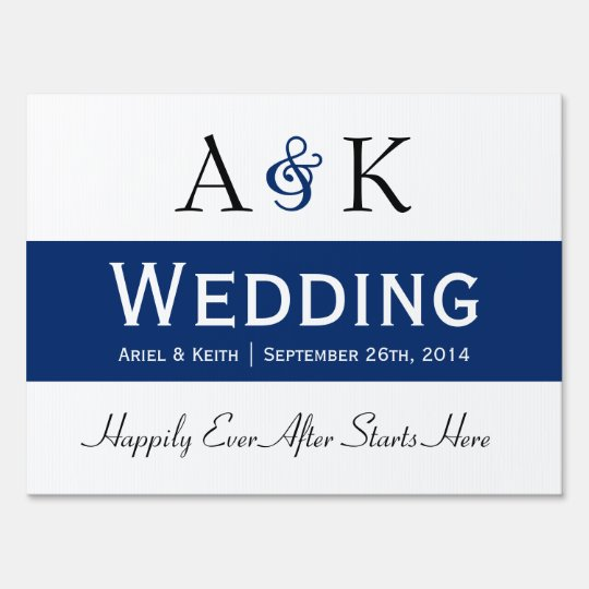 Ampersand Elegance Dark Blue Wedding Sign