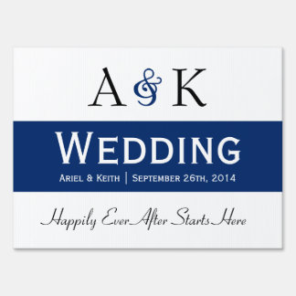 Ampersand Elegance: Dark Blue Wedding Sign
