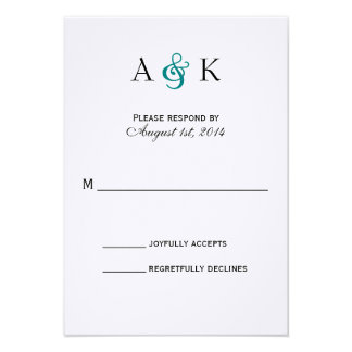 Ampersand Elegance Teal Wedding RSVP Card Personalized Announcements