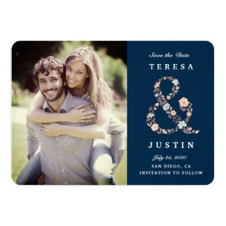 Ampersand Floral Save The Date Photo Annoucement Card
