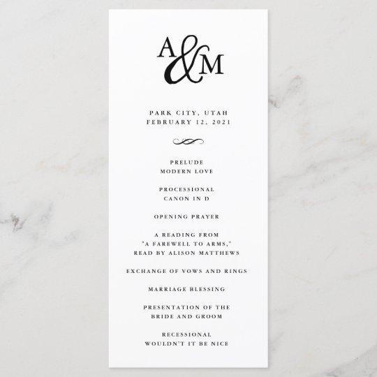 Wedding Ceremony Program.Ampersand Monogram Wedding Ceremony Program